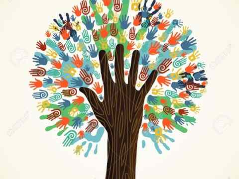 14777574-Isolated-diversity-tree-hands-illustration-Vector-file-layered-for-easy-manipulation-and-custom-colo-Stock-Vector