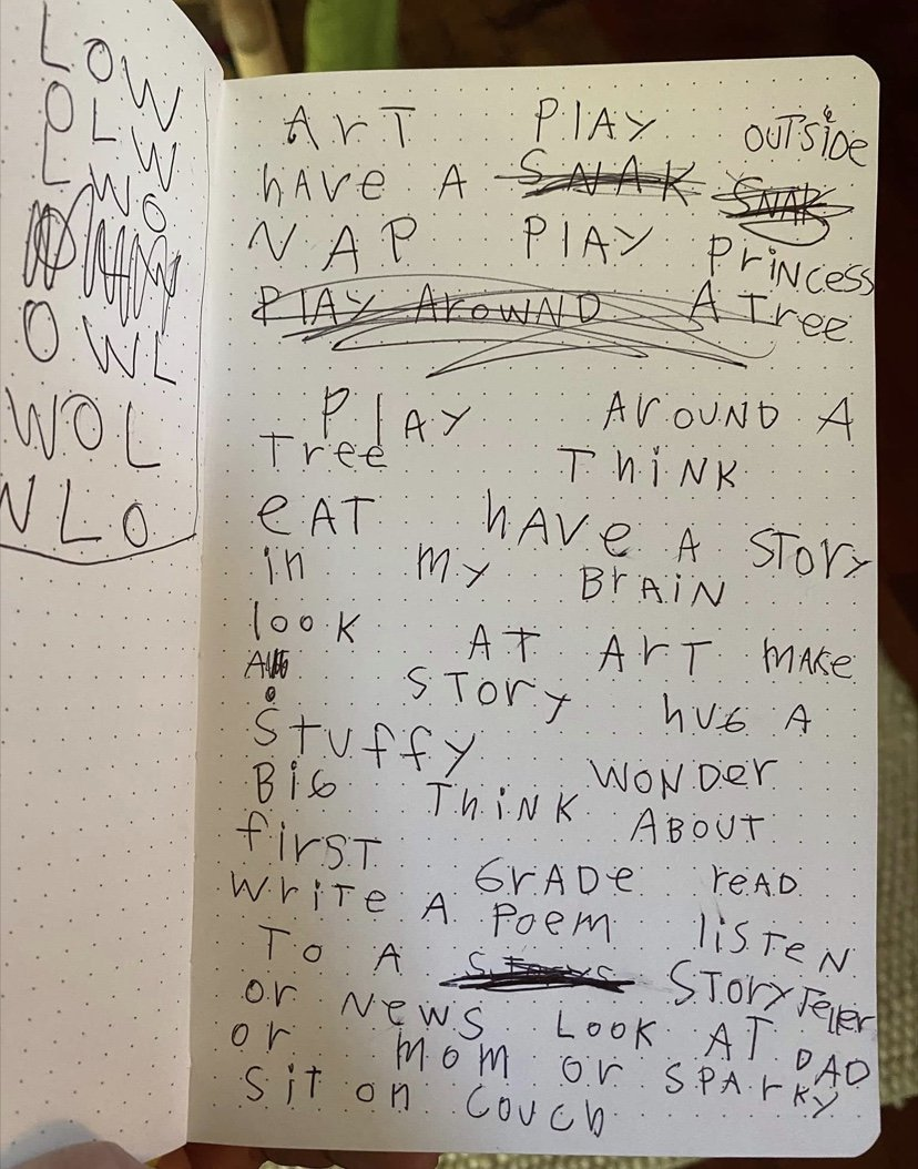 a list of things to do written by a 6 year old